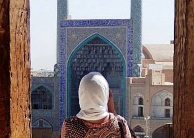 Woman looking at mosque